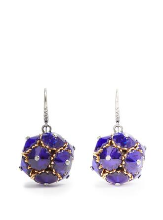 ball earrings blue jewels
