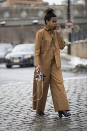 pants,nyfw 2017,fashion week 2017,fashion week,streetstyle,wide-leg pants,camel,camel jacket,matching set,bag,mini bag,boots,black boots,high heels boots,monochrome outfit