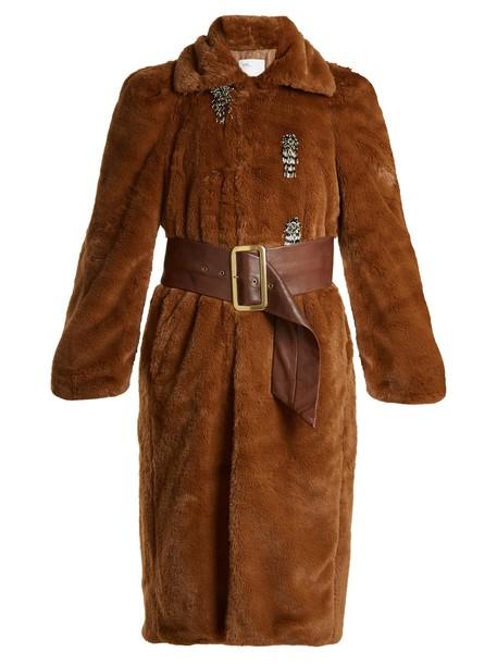 Toga coat fur coat fur embellished brown