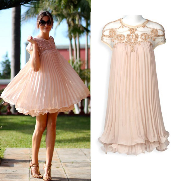 Apricot Short Sleeve Lace Pleated Chiffon Dress