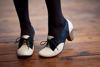 shoes high heels vintage retro low heels black and white