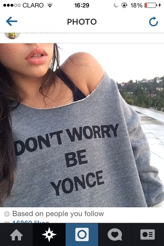 beyoncé shirt comfy style off the shoulder sweater