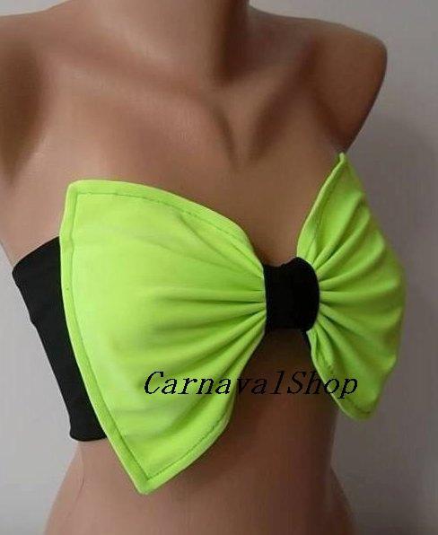 PADDED Bow bandeau.Swimsuit -Swimwear-Bikini top-bikini-bow.sun bathing-neon green black