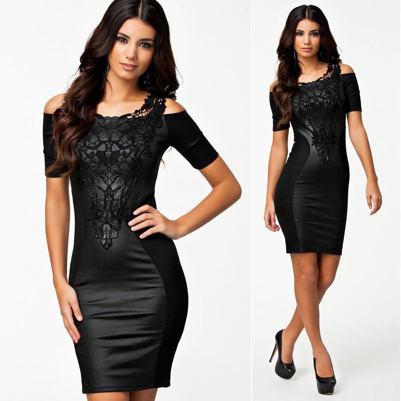 Bandage Dress 2014 Newest Fashion Women Embroidery Vintage Elegant Dress Leather Bodycon Bandage Dress Black Sheath M L | Amazing Shoes UK