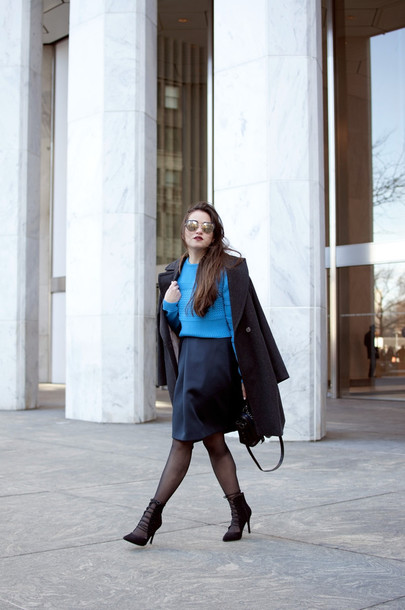 blaastyle blogger blue sweater black skirt black coat strappy sandals skirt sweater coat bag shoes sunglasses