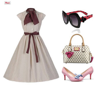 50s style style cute outfits polka dots pin up womens fashion cute clothing cute bags cute shoes polka dots shoes polka dots bag polka dots sunglass vintage sunglasses audrey hepburn striped dress cute dress