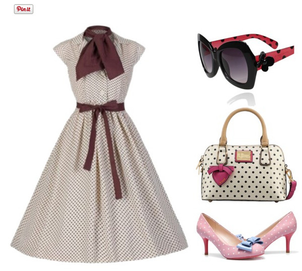 50s style style cute outfits polka dots Pin up Pin up womens fashion cute clothing cute bags cute shoes polka dots shoes polka dots bag polka dots sunglass vintage sunglasses audrey hepburn striped dress cute dress Pin up