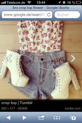 shoes shirt flowers girly crop tops white shoes hot pants vintage higheels