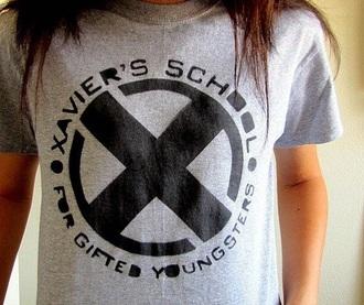 shirt t-shirt xavier x-men superheroes grey black marvel