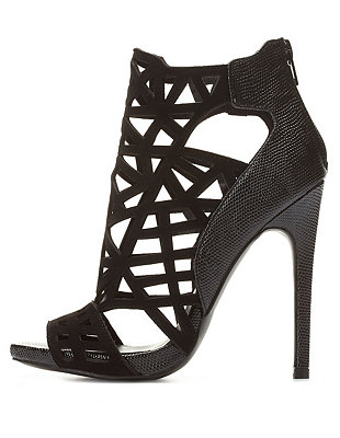 Out peep toe booties: charlotte russe