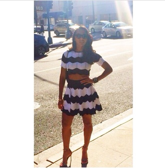 white black and white top skirt crop tops crop tops shaniece co-cord two-piece crop too