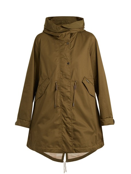 parka leather cotton khaki coat