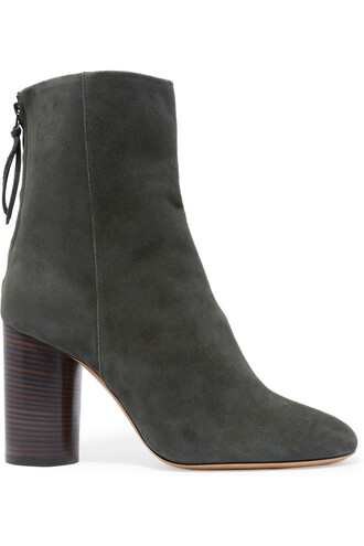 suede ankle boots boots ankle boots suede green army green charcoal shoes