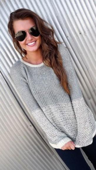 white sweater grey sweater soft girly fashion