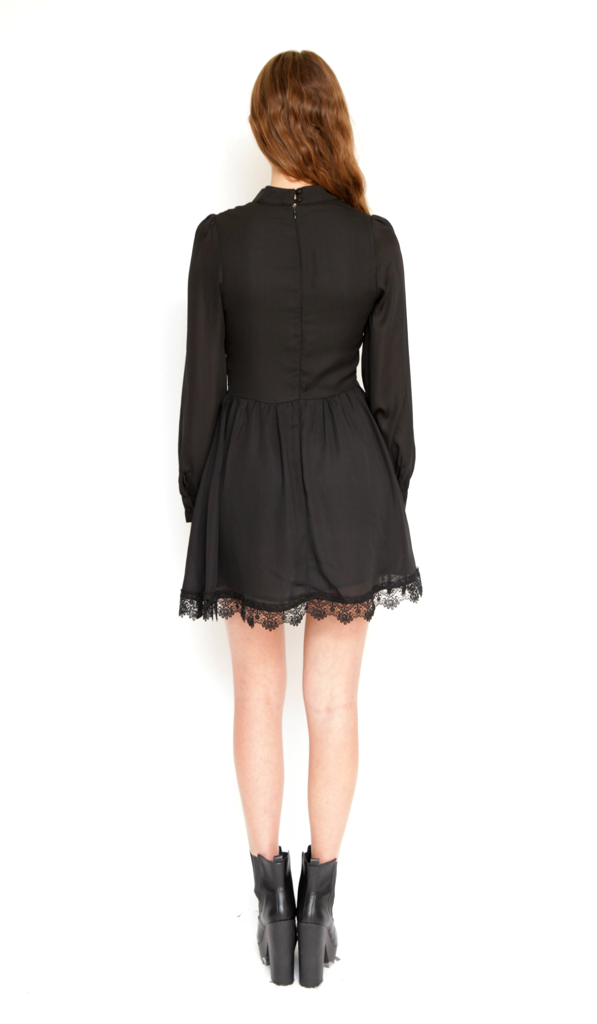 Black high neck chiffon dress with embroidered lace trim