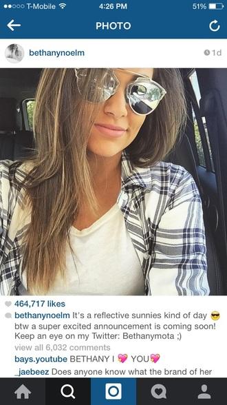 shirt plaid shirt sunglasses top