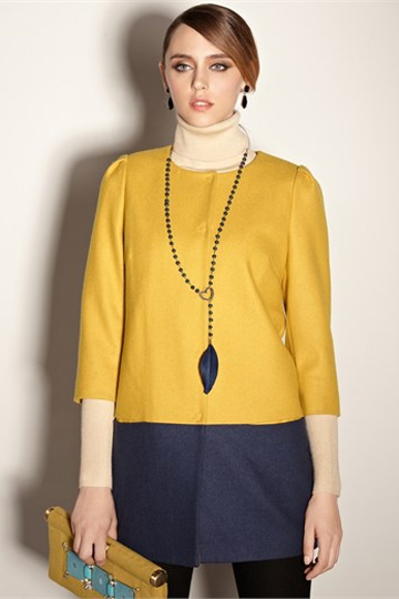 Round Neck Color Contrast Coat [FEBK0558]- US$ 60.99 - PersunMall.com