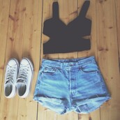 shorts,jeans,denim shorts,crop tops,black,black crop top,converse,white,white converse,High waisted shorts,dress,top,shoes,high waisted denim shorts,blouse,ootd,fashion,crop,bodycon,blue,shirt,clothes