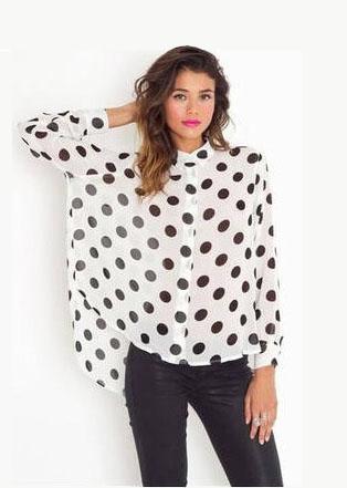 Trendy Polka Dot Print Chiffon Shirt