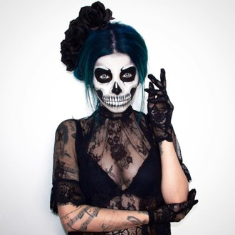 make-up lace black lace witch sexy halloween costume halloween costume costume halloween blue hair skeleton gloves black lace dress lace dress halloween makeup black and white hairstyles party make up