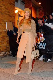 shoes,camel,suede boots,over the knee boots,over the knee,jennifer lopez,fall outfits,fall colors,celebrity,skirt,midi skirt,sweater