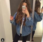 jacket,jeans,denim,denim jacket,outerwear,changing room,grunge,grunge jean jacket,demin,baggy,indie,pale grunge,oversized jacket,blue jacket,blue jean jacket,jean jackets,oversized t-shirt,hoodie,blue