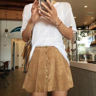 skirt clothes beige beige skirt velvet velvet skirt white suede suede skirt button up skirt