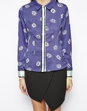 Lavish Alice | Lavish Alice Shirt in Eye Print with Contrast at ASOS