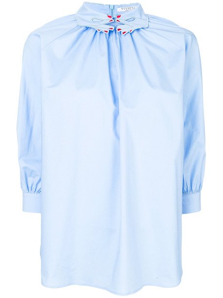 VIVETTA blouse women spandex embellished cotton blue top