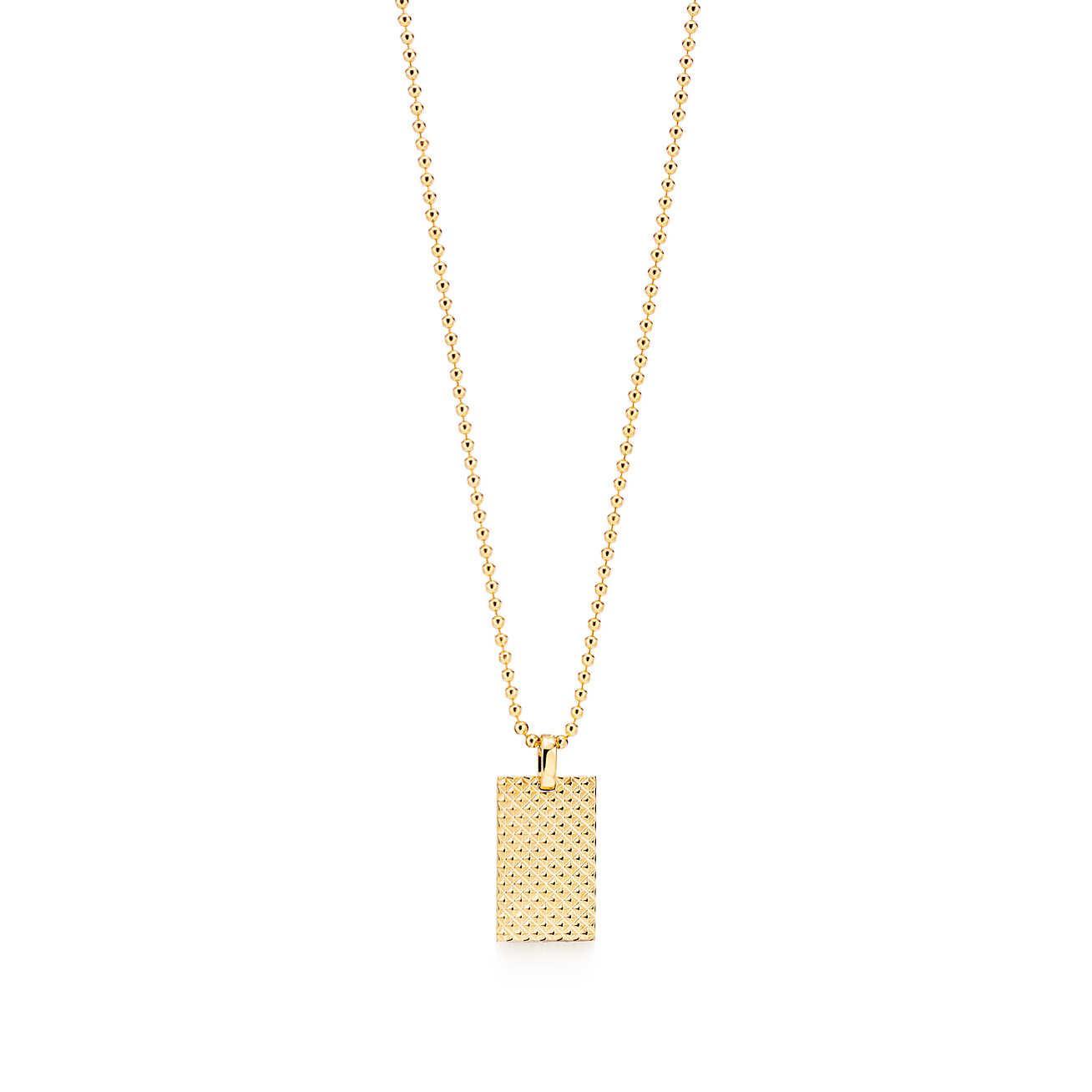 Diamond Point rectangle pendant in 18k gold
