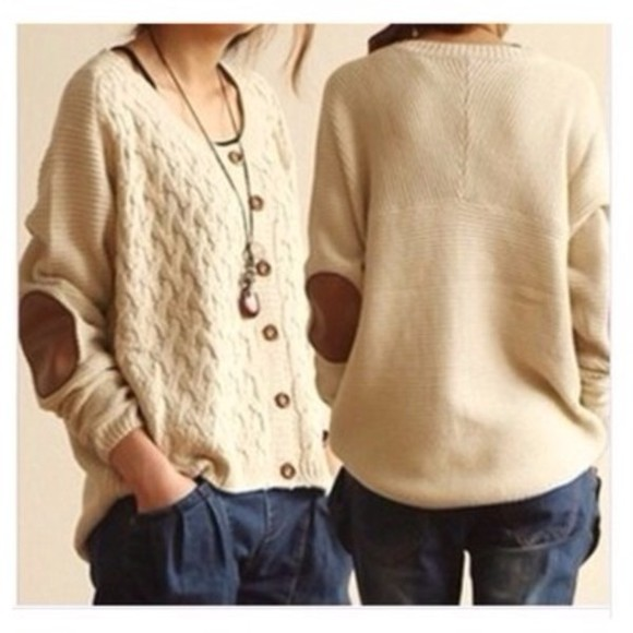 sweater beige sweater elbow patch button down casual sweater