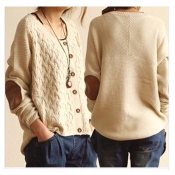 sweater elbow patches button down beige sweater casual sweater