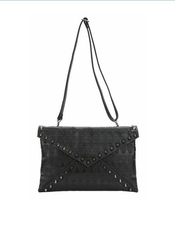 Black envelope skull zip punk bag : kisschic.com