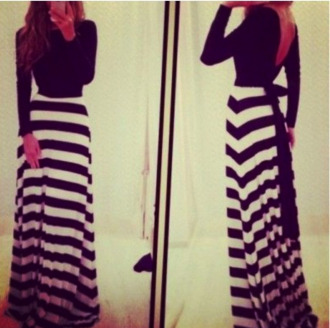 dress maxi dress striped dress striped maxi maxi black and white classic blogger ootd look of the day wiwt black and white blouse