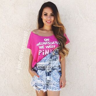 t-shirt jazrox pink cropped crop tops quote on it on wednesdays we wear pink spring denim style girly cute tumblr fashion summer girl neon cool trendy beach kawaii pastel instagram back to school women pale disney kawaii grunge light pink rose