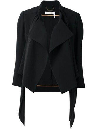 jacket women draped black silk