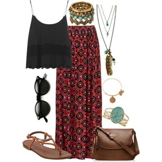 jewels necklace boho bohemian hippie tribal pattern feather long skirt skirt gypsy inie sandals flat sandals retro sunglasses jewelry shoes top