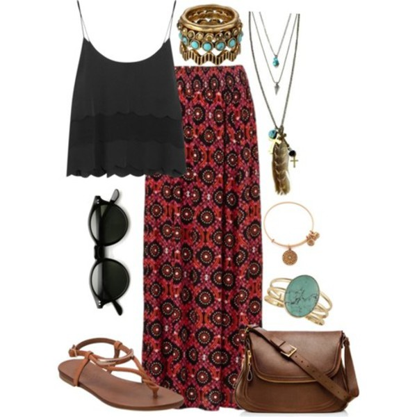 jewels necklace boho bohemian hippie tribal pattern feathers long skirt skirt gypsy inie sandals flat sandals retro sunglasses jewelry shoes top beach shoes maxi skirt red shirt