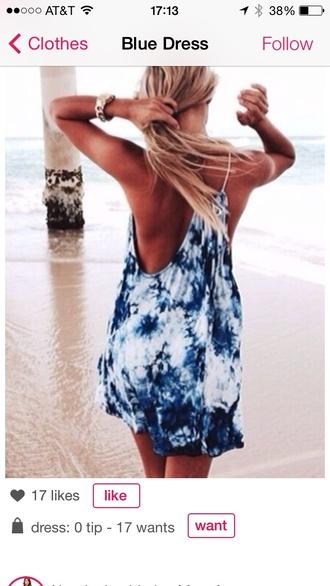 dress tie dye white to blue dye dress