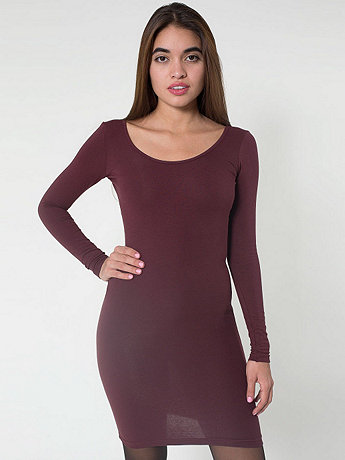 Cotton Spandex Jersey Double U-Neck Long Sleeve Mini Dress | American Apparel