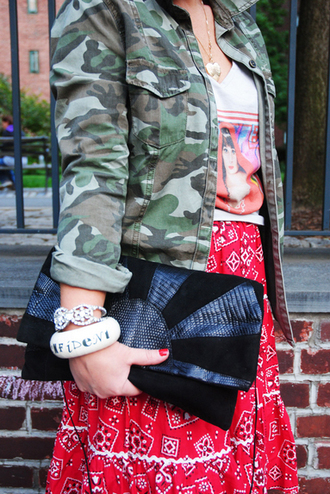 jewels camo jacket skreened black clutch bag rhinestone bracelet bangle country style bag tank top skirt