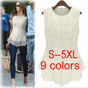 1026  Plus size S 5XL sleeveless crochet lace top european style clothing blusas ladies shirt women blouse summer peplum blouses-in Blouses & Shirts from Apparel & Accessories on Aliexpress.com