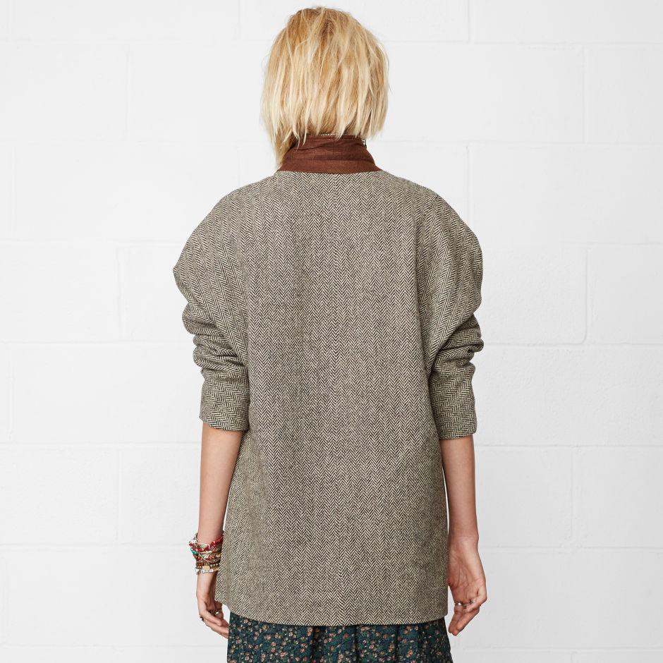 Wool-Blend Herringbone Blazer