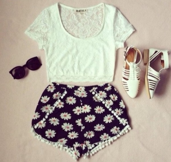 shorts tank top sunglasses shoes