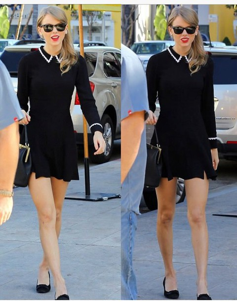 dress black dress with white-trimmed collar long sleeve black dress taylor swift dress