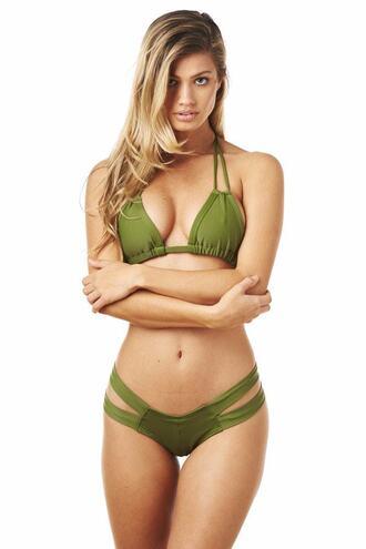 top bikini delivery bikini top green halter top montce swim olive green skimpy string bikini triangle bikiniluxe