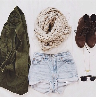 shorts denim coat scarf shoes jacket