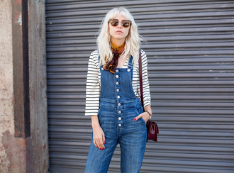 always judging blogger sunglasses 70s style denim overalls striped top jumpsuit silk scarf printed scarf overalls button up spring outfits
