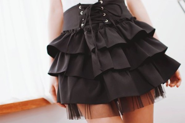 skirt black ruffle tiered tied