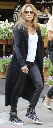 jacket,long,jennifer lopez,supra,black,leather,vest,white,cardigan,blouse